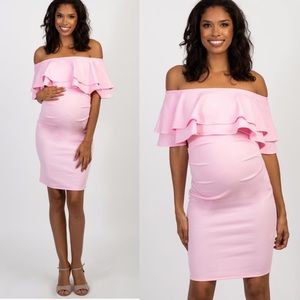 Pinkblush Pink Off Shoulder Fitted Maternity Dress